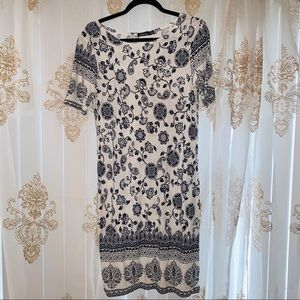 Boohoo Navy and White Floral Dress